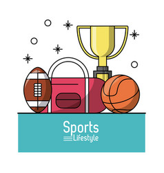 colorful poster of sports lifestyle with trophy vector image