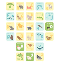 Cute a-z alphabet cards with cartoon animals vector