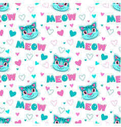 Cute childish seamless pattern with funny cats vector