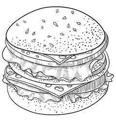 Doodle Cheeseburger vector image