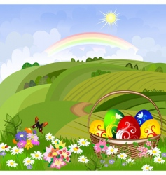 Easter clearing with a basket vector image