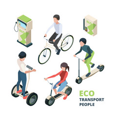 eco transport people 3d bicycle electric car vector image