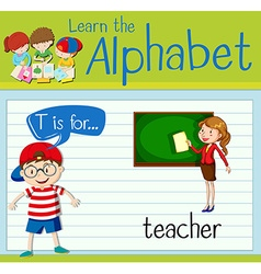 Flashcard letter T is for teacher vector image