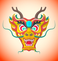 flat style chinese red dragon mask vector image
