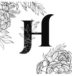 Flower alphabet letter h pattern vector