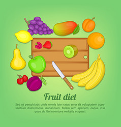 Fruits concept cut knife cartoon style vector