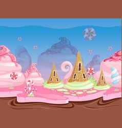 Game fantasy landscape seamless background vector