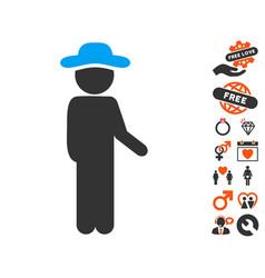 Gentleman idler icon with lovely bonus vector