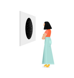 Girl looks at an abstract painting vector