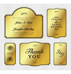 Gold foil frame set vector