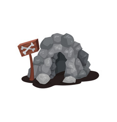 gray stone cave and wooden signboard with crossed vector image