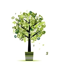 Green tree with numbers leaf in pot for your vector