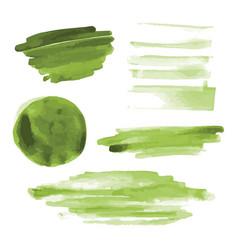 Green watercolor shapes circle brush strokes vector