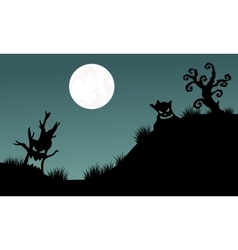Halloween tree monster and full moon backgrounds vector image