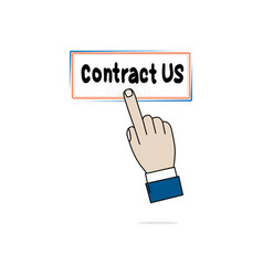 hand business icon press contract us on white vector image