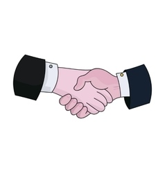 Handshake icon in cartoon style isolated on white vector image