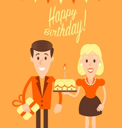Happy couple retro art vector image