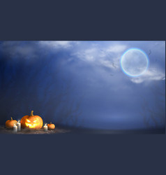 happy halloween horizontal banner vector image