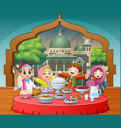 Happy muslim kids celebrating iftar party vector