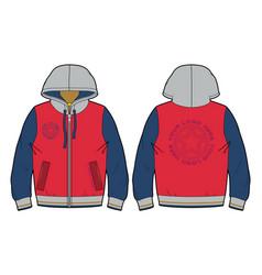 hooded sports sweatshirt with zip closure vector image