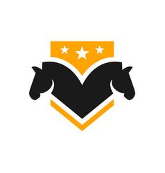 horse head shield logo vector image