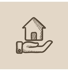House insurance sketch icon vector image vector image