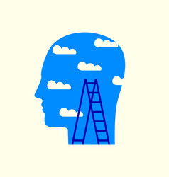human head with clouds in blue sky and stepladder vector image