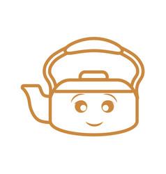 Kawaii kettle icon vector