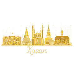 Kazan russia city skyline golden silhouette vector