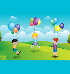 Kids playing with balloons vector