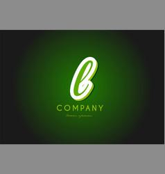 l alphabet letter logo green 3d company icon vector image