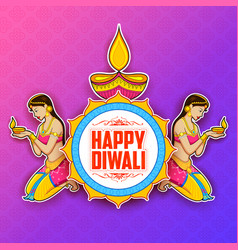 Lady burning diya on happy diwal holiday vector