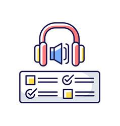 Listening examination rgb color icon vector