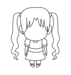manga anime girl chibi character contour vector image