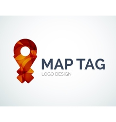 Map tag logo design made of color pieces vector image