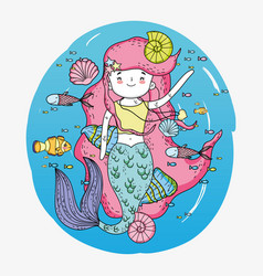 Mermaid woman underwater with shells and snails vector