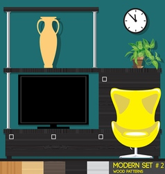 Modern style interior set flat style Digital image vector image