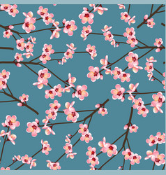 momo peach flower blossom seamless on blue vector image