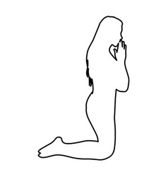 monochrome contour of woman praying on knees vector image