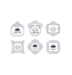 Monogram logo templates set luxury monochrome vector