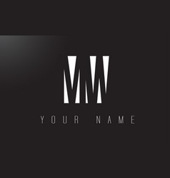mw letter logo with black and white negative vector image