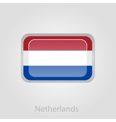 Netherlands flag button vector