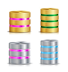 Network database disc icon set realistic vector