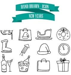 New Year icons with hand draw vector