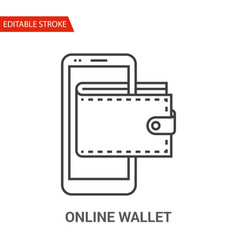 Online wallet icon thin line vector