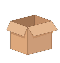 open cartoon flat cardboard box on white vector image