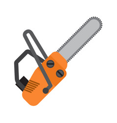 Orange chainsaw flat icon vector