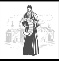 orthodox monk orthodox priest vector image