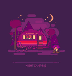 Outdoor view on cartoon trailer at night camping vector