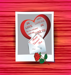 photograph with congratulations on Valentines Day vector image